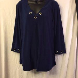 New Directions Knit Tunic Blue Sz XL 3/4 Sleeve